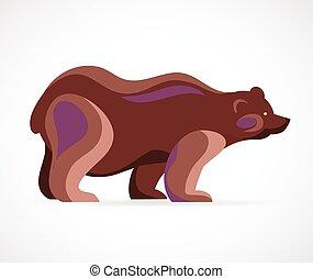 simbolo, vettore, -, orso, illustrazione