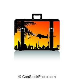 simbolo, viaggiare, esso, illustrazione, valigia