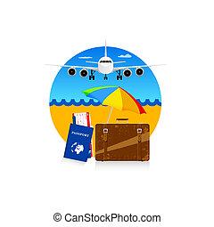 simbolo, viaggiare, passaporto, illustrazione, valigia