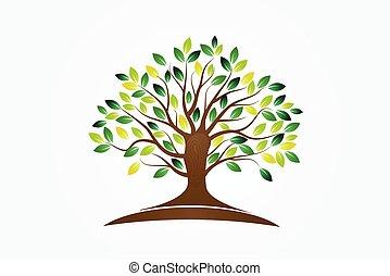 simbolo, vita, logotipo, albero, vettore