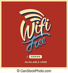 simbolo, wifi, stile, libero, retro