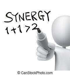 sinergia, uomo, 3d, parola, scritto