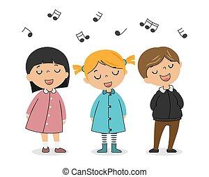 singing., gruppo, bambini, vettore, isolato