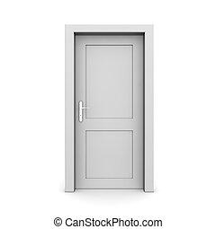 singolo, porta, grigio, chiuso