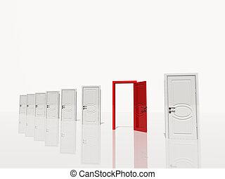 sinigle, porta, spazio, porte, bianco, parecchi, aperto, rosso