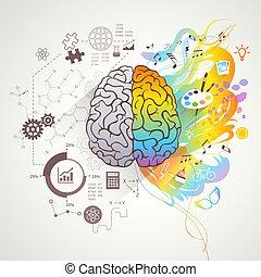 sinistra, cervello, concetto, destra