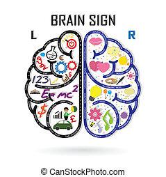 sinistra, creatività, affari, conoscenza, cervello, icona, destra, segno, simbolo, educazione