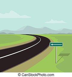 sinistra curva, strada