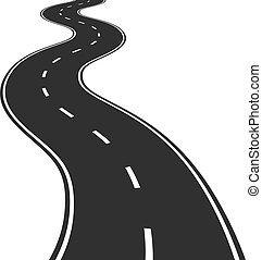 sinuosità, vettore, illustrazione, strada