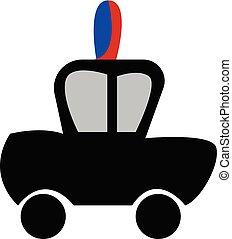 sirena, polizia, colorare, automobile, illustrazione, vettore, o