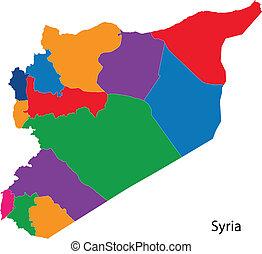siria, colorito, mappa