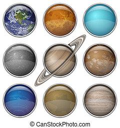 sistema, bottoni, solare, set, pianeti