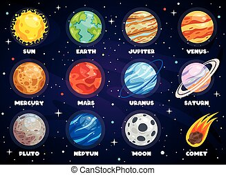 sistema, colorito, pianeti, solare