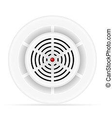 sistema, illustrazione, rivelatore, fumo, gas, sicurezza, casa, fuoco, vettore