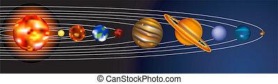 sistema, illustrazione, solare