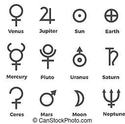 sistema, pianeti, simboli, set, solare, icone