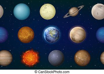sistema, pianeti, solare, seamless