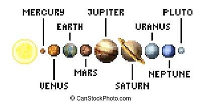 sistema, pixel, pianeti, solare, 8, pezzo, gioco, arte, video