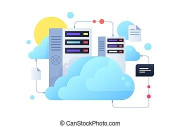 sistema servizio, sun., nuvola, computer, usando, sistema