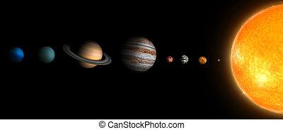 sistema, solare, 3d