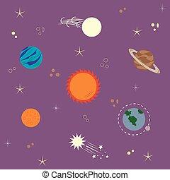 sistema, solare, comete, stelle, pianeti