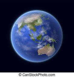 sistema solare, globo, realistico, terra, pianeta, 3d