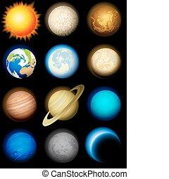 sistema, solare, icone