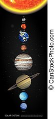 sistema solare, illustrazione, vettore, pianeti, nostro