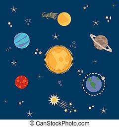 sistema, solare, pianeti