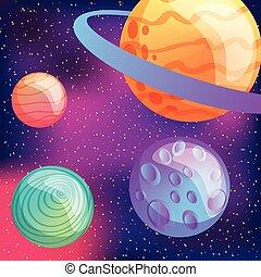 sistema solare, realtà virtuale, pianeti, luna