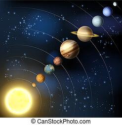 sistema, solare, spazio