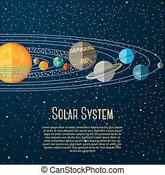 sistema solare, stars., vettore, sole, pianeti, bandiera
