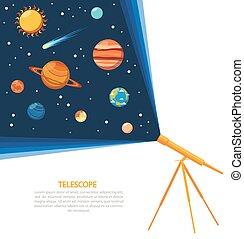 sistema, telescopio, solare, manifesto, concetto
