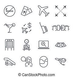 sito web, appartamento, set, icone, caricamento, altro., no, editable, aeroporto, posto, biglietti, colpo, applications., mobile, set:, aeroplano, icona, fumo, cintura