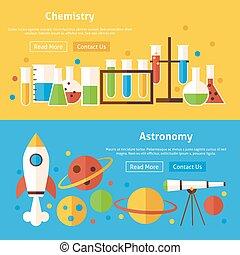 sito web, appartamento, set, scienza, bandiere, astronomia, chimica