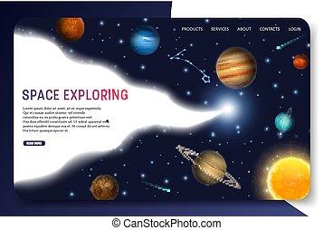 sito web, esplorare, spazio, atterraggio, vettore, sagoma, pagina