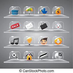 sito web, icone, bottone, vetro, internet