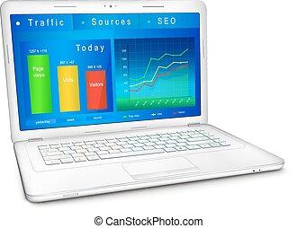 sito web, laptop, traffico, schermo, analisi