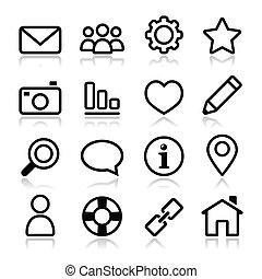 sito web, menu, colpo, navigazione, icona