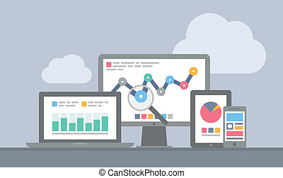 sito web, mobile, concetto, analytics