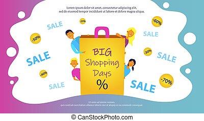 sito web, o, giorni, persone., gioioso, shopping, bandiera, vendita, disegno, grande, sale., concetto, manifesto quattro, giovane