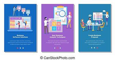 sito web, pagina, statistica, topic, atterraggio, sagoma, analysis., set, illustrazioni, affari