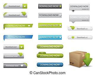 sito web, scaricare, bottoni