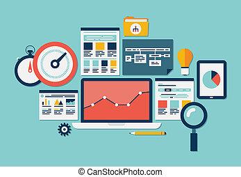 sito web, seo, analytics, icone