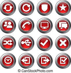 sito web, set, icone, -, 2, rosso