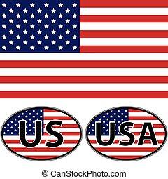 sito web, stati uniti, ci, ovale, bandiera, vettore, disegno, stampa, adesivi, o