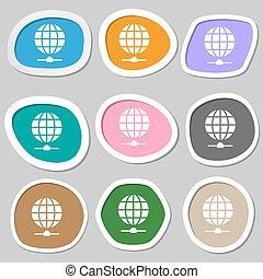 sito web, symbols., vettore, variopinto, carta, stickers., icona