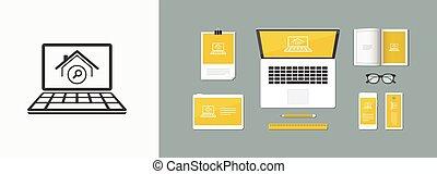 sito web, vettore, -, domanda, computer, casa, trovare, icona