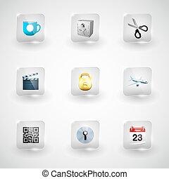 sito web, vettore, icone internet