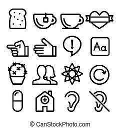 sito web, web, appartamento, icone, utenti, -, collezione, disegno, blog, linea, navigazione, negozio, icona